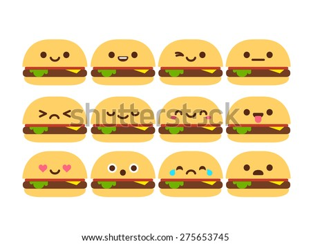Set of 12 modern flat emoticons: cute cartoon burger with different emotions. - stock vector