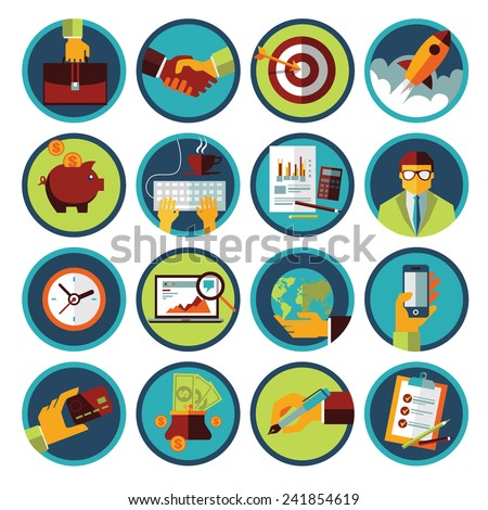 Set of modern flat icons. Business and finance. Vector illustration. - stock vector