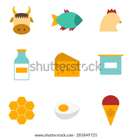 Set of modern flat icons with products containing animal protein and prohibited for vegans: milk, cheese, egg, yogurt, fish, ice cream, red meat, honey, poultry meat. You can use it for your natural