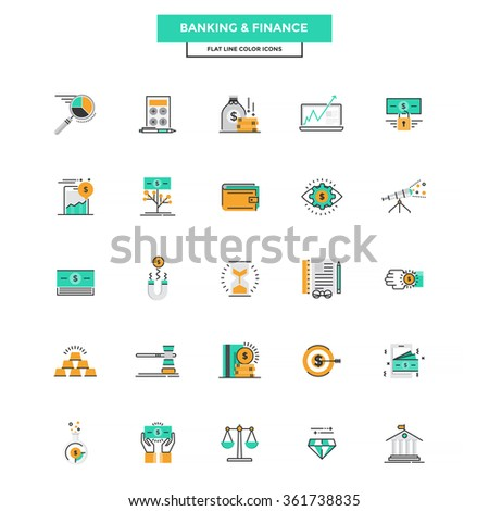 Set of Modern Flat Line icon Concept of Banking and Finance use in Web Project and Applications. Vector Illustration - stock vector