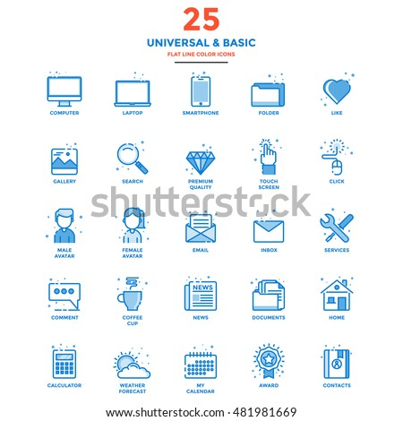 Set of Modern Flat Line icon Concept of Basic, Universal, Internet, Computer, Calculator, Documents and Smartphone use in Web Project and Applications. Vector Illustration