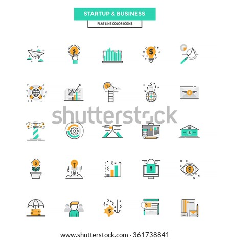 Set of Modern Flat Line icon Concept of Business, Start up , Management, Online Marketing, Research and Analysis use in Web Project and Applications. Vector Illustration - stock vector