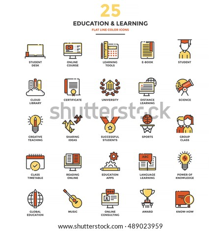 Set of Modern Flat Line icon Concept of Education, Leaning, Online Education, Video Tutorial, E-Learning and Thinking use in Web Project. Vector Illustration