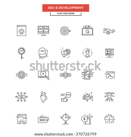 Set of Modern Flat Line icon Concept of Seo,Development , Management, Online Marketing, Research and Analysis use in Web Project and Applications. Vector Illustration - stock vector