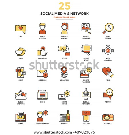 Set of Modern Flat Line icon Concept of Social Media and Network use in Web Project and Applications. Vector Illustration