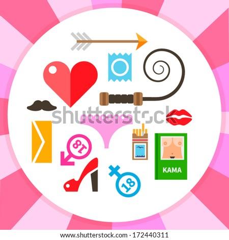 Set of modern flat round love and sex symbols - stock vector: www.shutterstock.com/similar-124292440/stock-vector-kama-sutra.html