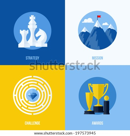 Set of modern flat vector business elements for websites and mobile apps. Concepts for strategy, mission, challenge, awards - stock vector