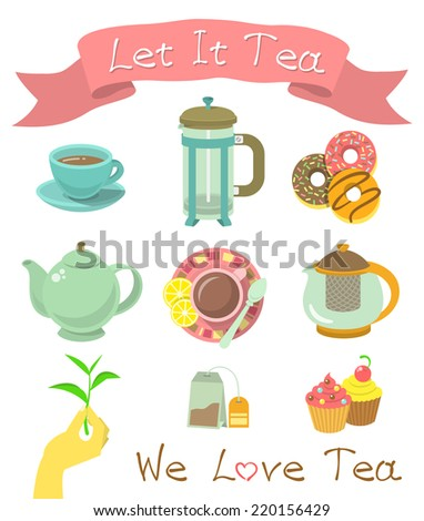 Set of modern flat vector icons of tea party essentials. Suitable for creating a colorful invitation card, website design, infographics or publication. - stock vector