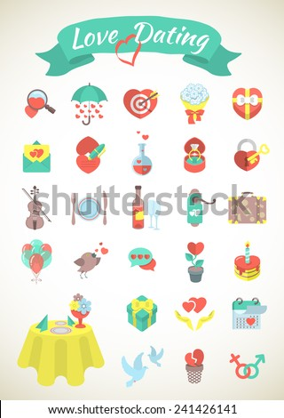 Set of modern flat vector love and dating icons. Valentine's Day design. Isolated on white. - stock vector