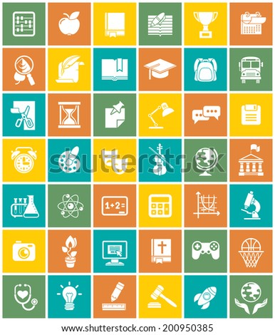 Set of modern flat white silhouette icons of school subjects, educational and science symbols in colorful squares - stock vector