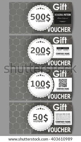 Set of modern gift voucher templates. Chemistry pattern, hexagonal design vector illustration. - stock vector