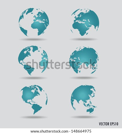 Set of modern globes. Vector Illustration. - stock vector