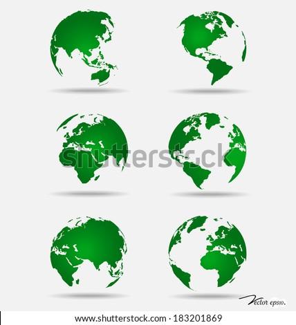 Set of modern globes. Vector Illustration. - stock vector