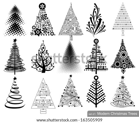 Set of Modern hi-tech Christmas Trees. 15 designs in one file.  - stock vector