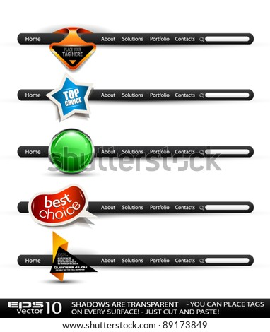 Set of modern high tech style search banners and web headers with various label tags for your text. Shadows are all transparents so you can place it on every surface. - stock vector