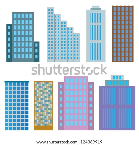 Set of modern houses on the white background. - stock vector