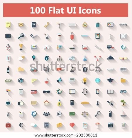 Set of modern icons in flat design with long shadows and trendy colors for banners, covers, corporate brochures, logos, mobile applications, business, social networks etc. Vector eps10 illustration - stock vector