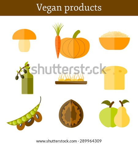 Set of modern icons in flat style on vegan food theme: fruit, vegetable, mushroom, soy, bean, oil, nut, bread, rice. Raw healthy food or vegan concept. Great for vegan site, app or organic market - stock vector