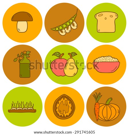 Set of modern icons in hand drawn style on vegan food theme: fruit, vegetable, mushroom, soy, bean, oil, nut, bread, rice. Raw healthy food or vegan concept. Great for vegan site, app, organic market - stock vector