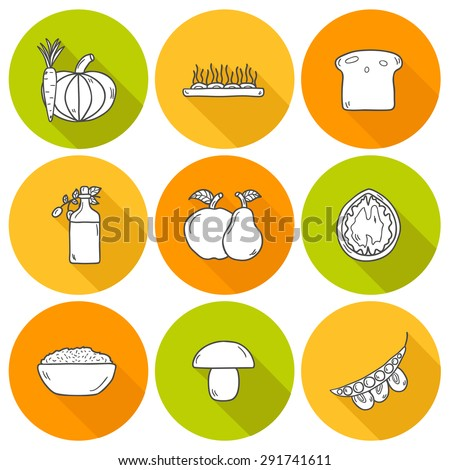 Set of modern icons with shadows in hand drawn style on vegan food theme: fruit, vegetable, mushroom, soy, bean, oil, nut, bread, rice. Raw healthy food or vegan concept. Great for vegan site, app - stock vector