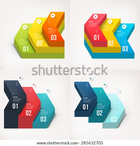 Set of modern info graphics diagram element number template. Vector illustration. can be used for workflow layout, diagram, business step options, banner, web design - stock vector