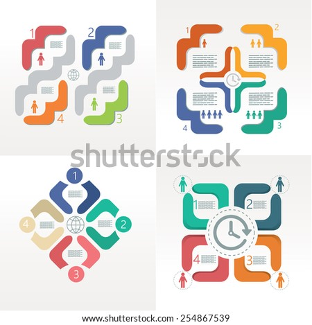 Set of modern infographic design templates and elements - stock vector