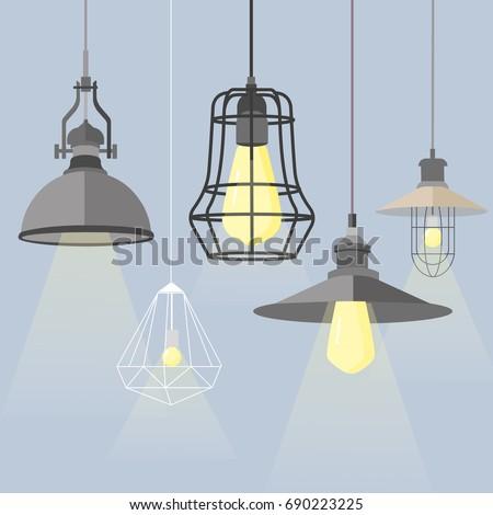 set of modern isolated edison loft lamps vintage retro style light bulbs background