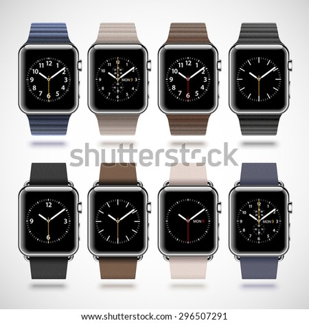 Set of 8 modern shiny smart watches with soft modern buckle bracelets and leather loops isolated on white background. RGB EPS 10 vector illustration - stock vector