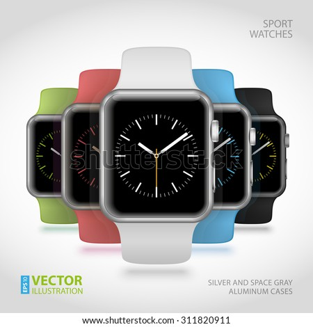 Set of 5 modern shiny sport smart watches with white, black, green, blue and pink plastic bands and digital clock faces on white background. RGB EPS 10 vector illustration - stock vector