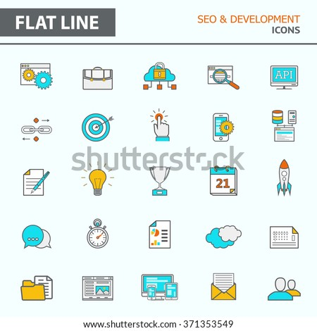 Set of modern simple line icons in flat design. Trendy infographic seo and development concept elements for banners, layouts, corporate  brochures, templates and web sites. Vector eps10 illustration - stock vector