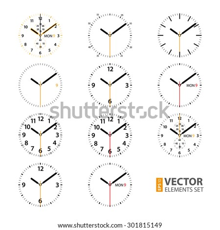 Set of 11 modern smart watches black and golden round dials on white background. RGB EPS 10 vector illustration - stock vector