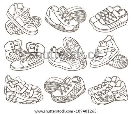 set of modern sport shoes (coloring book) - stock vector