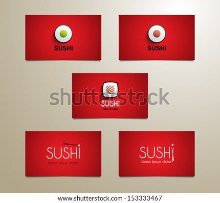 Set modern sushi business card template stock vector 153333467 set of modern sushi business card template for websites or business design colourmoves