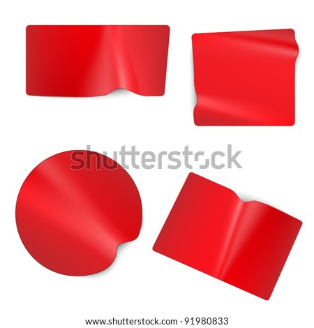 Set of modern tags - red - stock vector