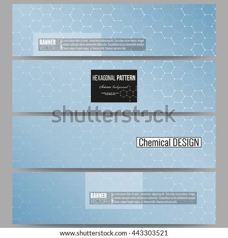 Set of modern vector banners. Chemistry pattern, hexagonal design vector illustration - stock vector