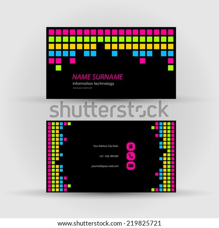Set of modern vector business card template - front and mack side - stock vector