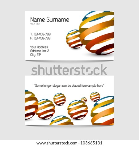 Set of modern vector business card templates - front and back side - stock vector