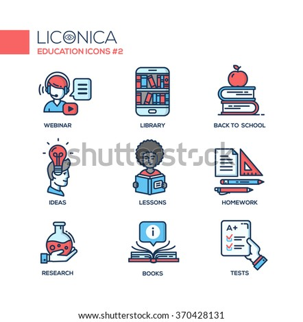 Set of modern vector education thin line flat design icons and pictograms. Collection of education infographics objects, web elements. Webinar, library, back to school, ideas, lessons, research, books - stock vector