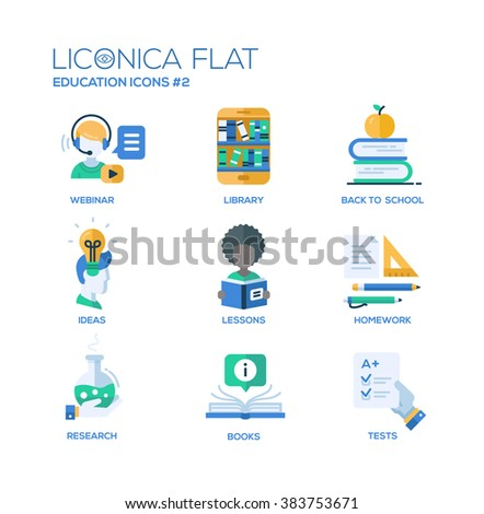 Set of modern vector education thin line flat design icons and pictograms. Collection of education infographics objects and web elements. Webinar, library, back to school, ideas, lessons, research - stock vector