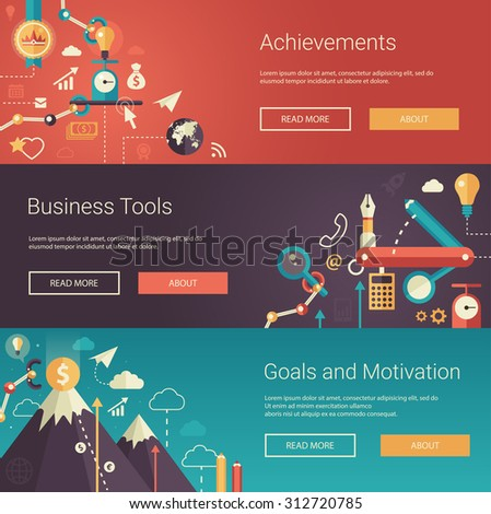 Set of modern vector flat design business banners, headers with icons and infographics elements. Achievements, business tools, goals and motivation - stock vector