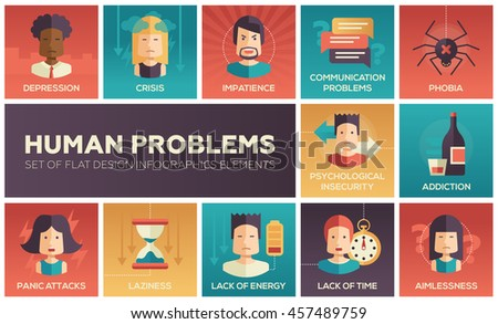 Set of modern vector flat design icons and pictograms of common human psychological problems. Crisis, impatience, depression, insecurity, phobia, addictions, aimlessness, laziness, energy, time lack - stock vector