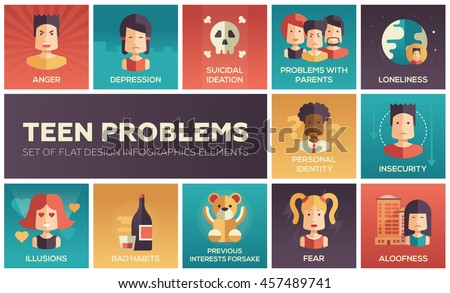 Set of modern vector flat design icons and pictograms of teenager problems. Anger, depression, personal identity, problems with parents, insecurity, aloofness, loneliness, illusions, bad habits, fear - stock vector