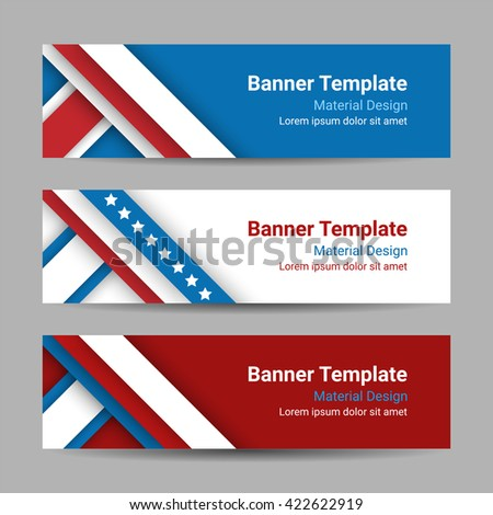 Set of modern vector horizontal banners, page headers with stripes and stars in the colors of the American flag. Material design banners for Presidents day, USA Independence day - stock vector