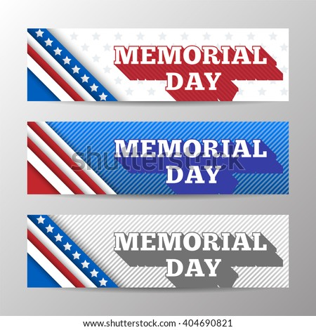 Set of modern vector horizontal banners, page headers with text for Memorial Day. Banners with stripes and stars in the colors of the American flag. - stock vector