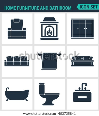 Set of modern vector icons. Home furniture and bathroom armchair, fireplace, wardrobe, sofa, towel, bath, toilet, washbasin. Black signs on a white background. Design isolated symbols and silhouettes. - stock vector