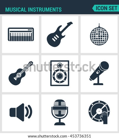 Set of modern vector icons. Musical instruments piano, guitar, disco, ball, speaker, microphone, speaker, sound, DJ. Black signs on a white background. Design isolated symbols and silhouettes. - stock vector