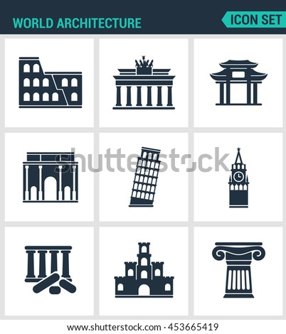 Set of modern vector icons. World architecture Coliseum, gate, china, berlin, Leaning Tower, Big Ben, Greek ruins, Castle, Columns. Black signs white background. Design isolated symbols silhouettes. - stock vector