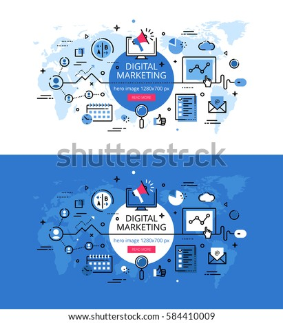 Set of modern vector illustration concepts of digital marketing. Line flat design hero banners for websites and apps with call to action button, ready to use