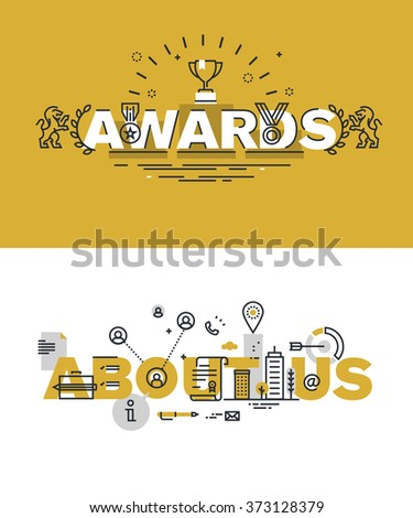 Set of modern vector illustration concepts of words awards and about us. Thin line flat design banners for website and mobile website, easy to use and highly customizable. - stock vector