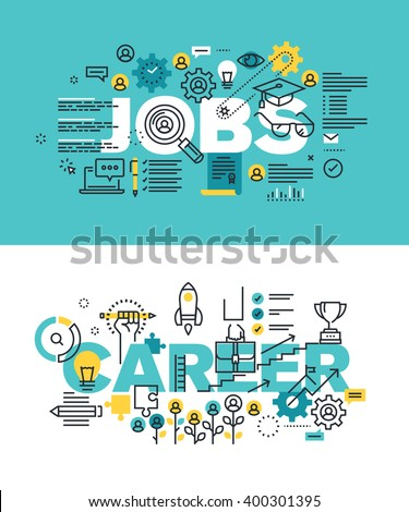 Set of modern vector illustration concepts of words jobs and career. Thin line flat design banners for website and mobile website, easy to use and highly customizable. - stock vector